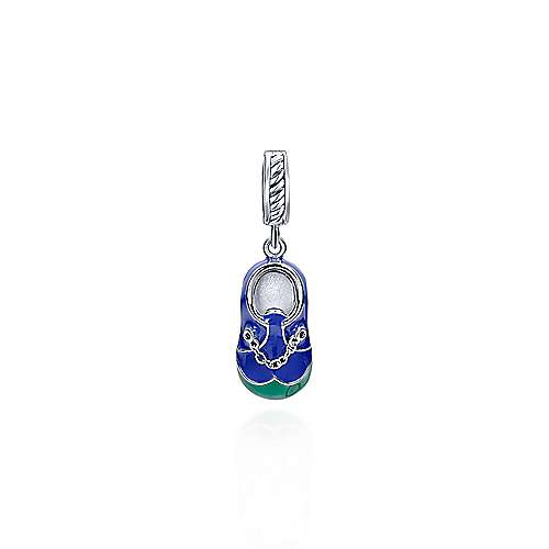 Celebrate your little bundle of joy with this adorable sterling silver baby shoe pendant with blue and green details.