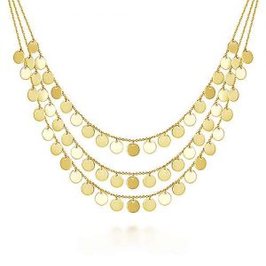 Three Strand 14K Yellow Gold Round Disc Drop Necklace - designed by jewelry designer Gabriel & Co., New York. Passion, Love & You.