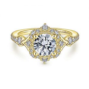 Unique 14K Yellow Gold Vintage Inspired Halo Diamond Engagement Ring - designed by jewelry designer Gabriel & Co., New York. Passion, Love & You.