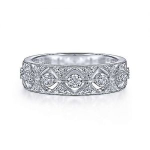 Vintage 14K White Gold Diamond Ladies Ring - designed by jewelry designer Gabriel & Co., New York. Passion, Love & You.