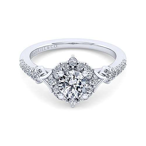 Vintage 14K White Gold Fancy Halo Round Diamond Engagement Ring - designed by jewelry designer Gabriel & Co., New York. Passion, Love & You.