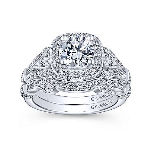Vintage Inspired 14K White Gold Cushion Halo Round Diamond Engagement Ring - designed by Gabriel & Co., New York. Passion, Love & You.