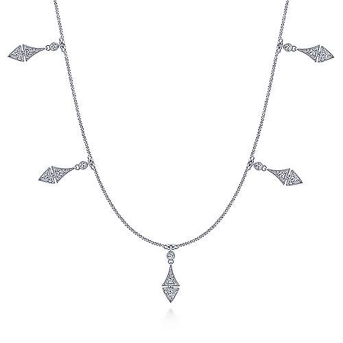 Vintage Inspired 14K White Gold Diamond Drop Necklace - designed by jewelry designer Gabriel & Co., New York. Passion, Love & You.