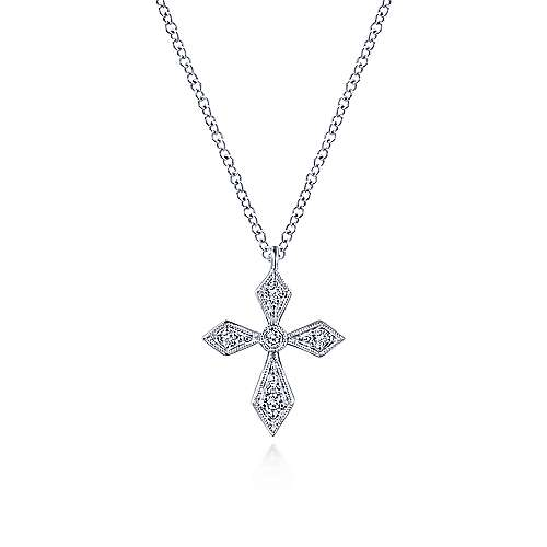 Vintage Inspired 14K White Gold Pointed Diamond Cross Pendant Necklace designed by Gabriel & Co., New York. Passion, Love & You.