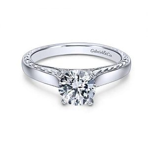 Gabriel & Co. Vintage Inspired 14K White Gold Round Diamond Solitaire Engagement Rings