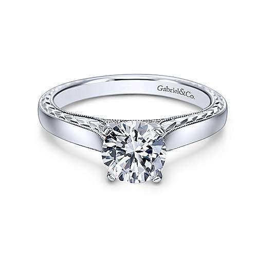 Vintage Inspired 14K White Gold Round Diamond Engagement Ring - designed by Jewelry Designers Gabriel & Co., New York. Passion, Love & You.