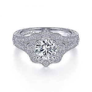 Vintage Inspired 14K White Gold Round Halo Diamond Engagement Ring - designed by Jewelry Designers Gabriel & Co., New York. Passion, Love & You.