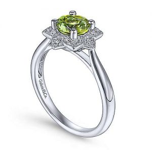 Vintage Inspired 14K White Gold Round Peridot and Floral Diamond Halo Ring - designed by Gabriel & Co., New York. Passion, Love & You.