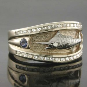 14K Yellow Gold Ladies Sapphire and Diamond Marlin Ring. .25ct. diamonds set in ring (inner color) along with .20ct. sapphires.