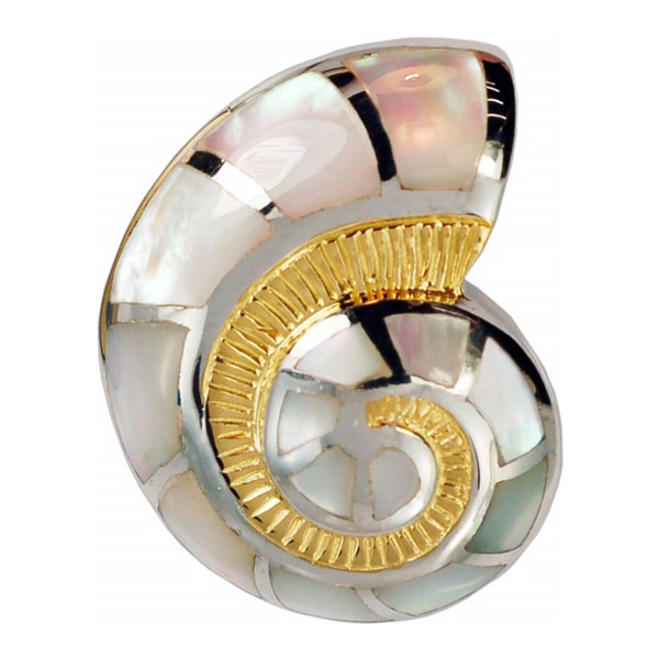 Sterling Silver and 18kt overlay Nautilus Shell Pendant with inlayed Mother of Pearl. Come in and check out our unique nautical jewelry.