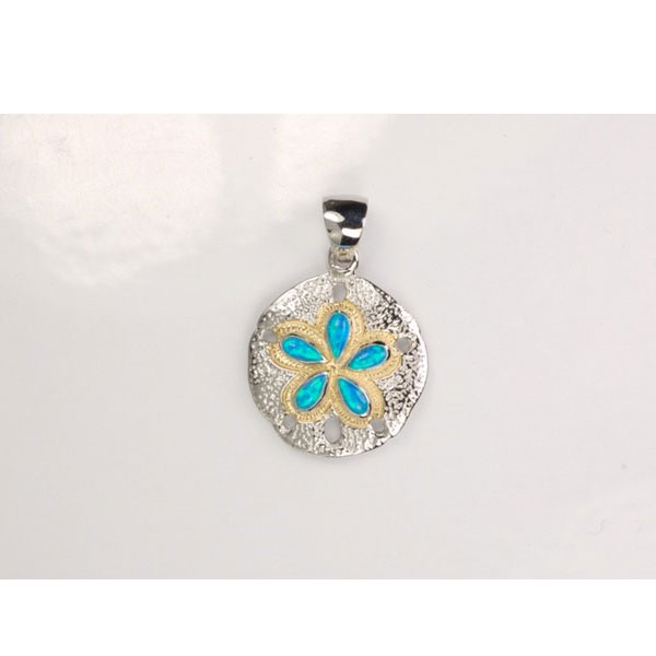 Sterling Silver and 18KT Inlayed Created Opal Sand Dollar Pendant. Come in and check out our assortment of silver and gold pendants.