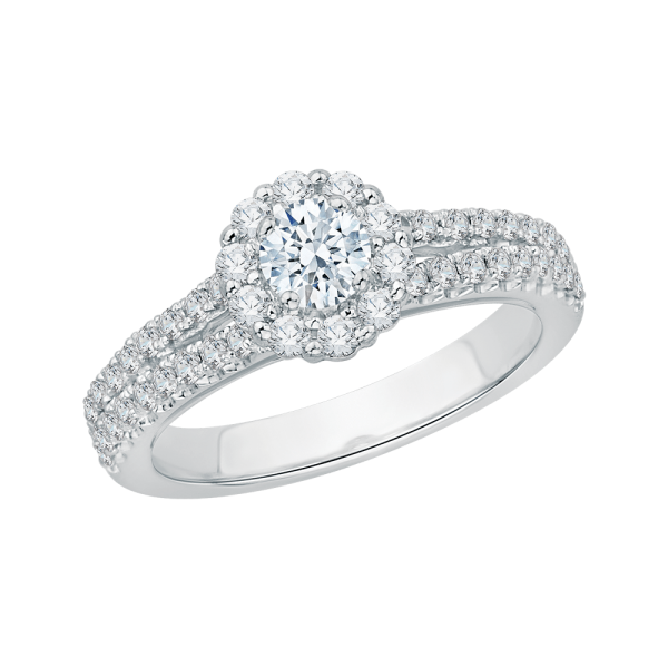Split shank halo diamond engagement ring by Sha Luxury. You never have to sacrifice luxury for price. Explore our engagement rings today.