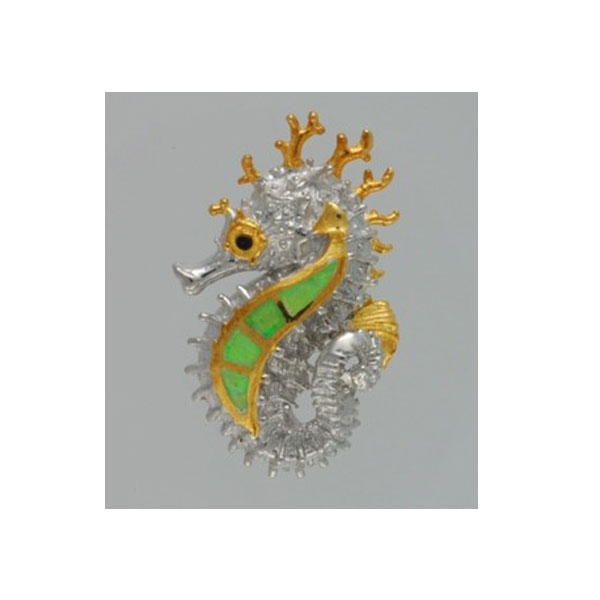 Small Sterling Silver and 18kt Overlay Seahorse Pendant with Inlayed Created Green Opal. Check out our assortment of silver and gold charms.