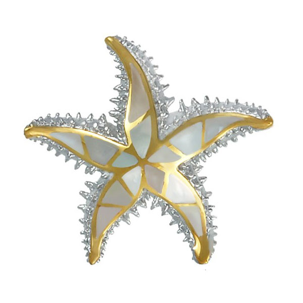 Sterling Silver and 18Kt Overlay Starfish Pendant with Inlayed Mother of Pearl. Come in and check out our unique nautical jewelry.
