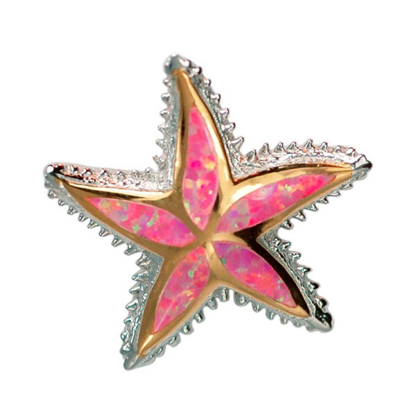 Sterling Silver and 18KT Overlay Inlayed Pink Mother of Pearl Starfish Pendant. Come in to check out our assortment of silver and gold charms