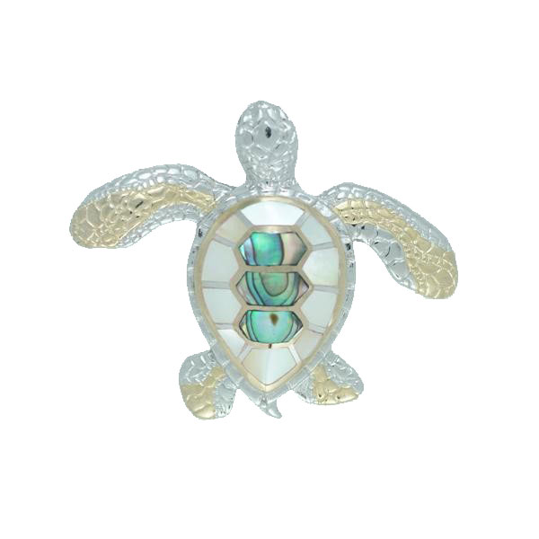 Sterling Silver and 18kt Overlay Turtle Pendant with Inlayed Mother of Pearl and Abalone. Come in and check out our unique nautical jewelry.