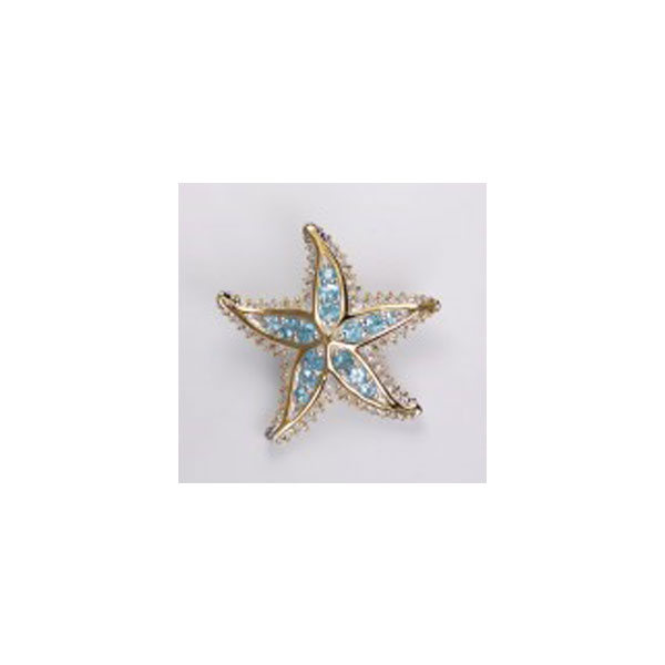 Sterling Silver and 18KT Overlay Starfish Pendant with Blue Topaz. Come in and check out Joseph's Jewelry unique nautical jewelry.