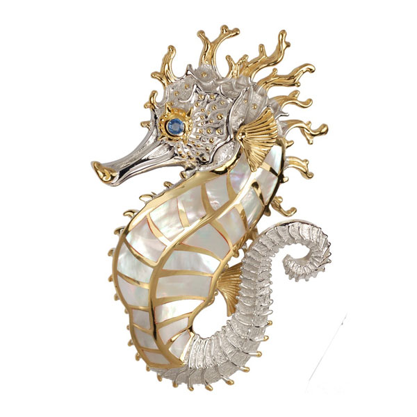 Large Sterling Silver with 18kt Overlay Seahorse Pendant with Inlayed Mother of Pearl. Come in and check out our unique nautical jewelry.