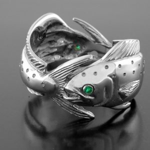 Sterling Silver double Mahi Dolphin Ring with (2)-.02ct emerald eyes.All items are custom made in the U.S.A.