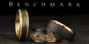 Benchmark rings logo, wedding bands
