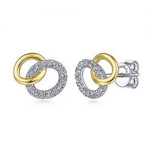 14K Yellow-White Gold Interlocking Links Diamond Stud Earrings - designed by Jewelry Designers Gabriel & Co., New York. Passion, Love & You.