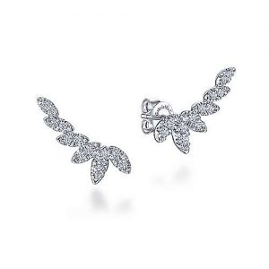 14K White Gold Graduating Marquise Shape Curved Diamond Stud Earrings - designed by Jewelry Designers Gabriel & Co., New York. Passion, Love & You.