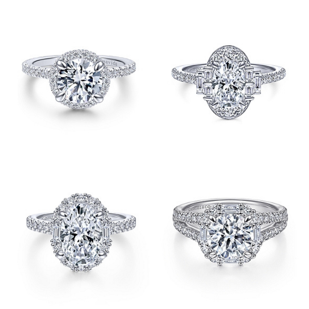 variety of halo engagement rings with diamonds