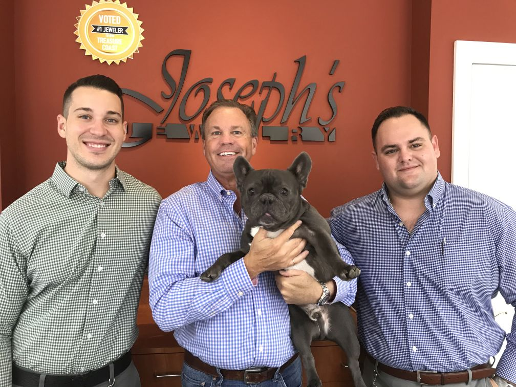 Joseph's jewelers with doggie at their jewelry store in Stuart FL