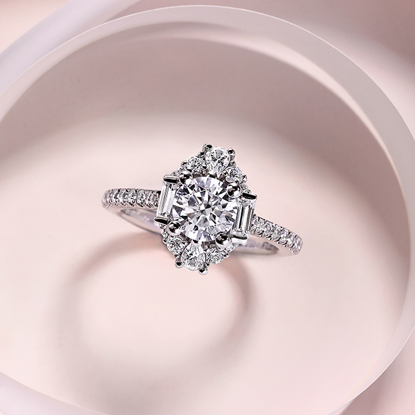 Gabriel & Co. Three Stone Engagement Rings with Diamonds