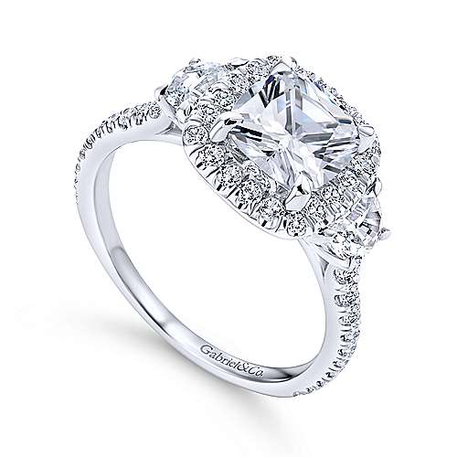 Gabriel & Co. 14K white gold cushion three-stone halo diamond complete engagement rings
