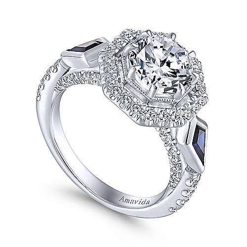 Gabriel & Co. art deco 18K white gold octagonal three-stone halo round sapphire and diamond complete engagement rings