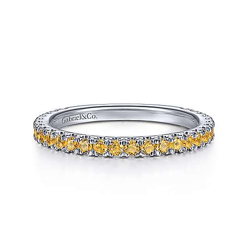 Gabriel & Co. 14K white gold citrine stackable november birthstone ring