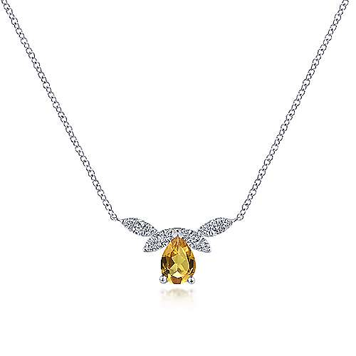 Gabriel & Co. 14K white gold pear shaped citrine diamond petal november birthstone necklace