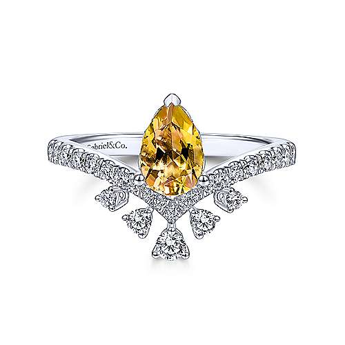 Gabriel & Co. 14K white gold pear shaped citrine november birthstone ring with diamond burst