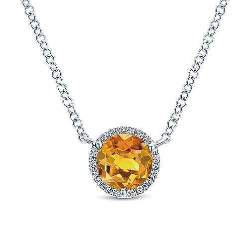 Gabriel & Co. 14K white gold round citrine and diamond halo pendant november birthstone necklace