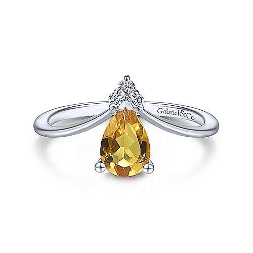 Gabriel & Co. 14K white gold teardrop citrine and diamond triangle november birthstone ring