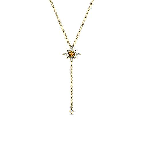 Gabriel & Co. 14K yellow gold citrine and diamond star Y november birthstone necklace with diamond drop