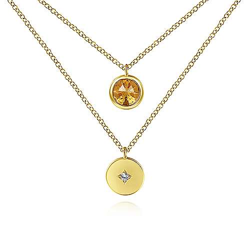 Gabriel & Co. 14K yellow gold round bezel set citrine and diamond disc november birthstone necklace