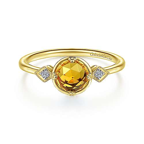 Gabriel & Co. 14K yellow gold three stone citrine and diamond november birthstone ring