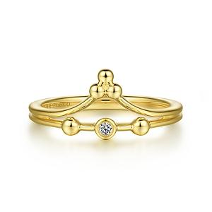 14K Yellow Gold Diamond Bujukan Fashion Ladies Ring $485, jewelry gifts under 500 dollars