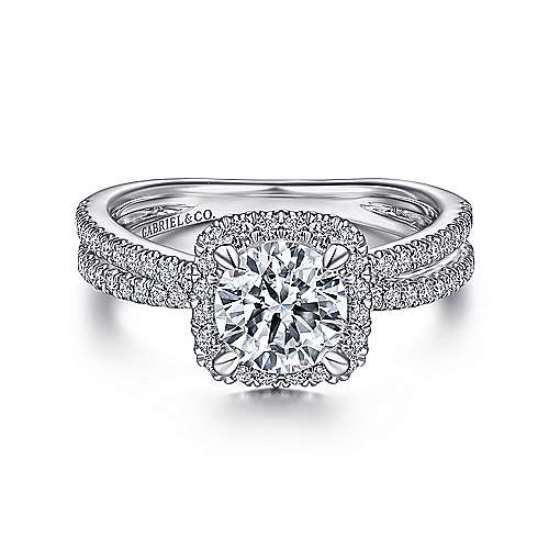 14K White Gold Cushion Halo Round Diamond Engagement Ring - designed by Jewelry Designers Gabriel & Co., New York. Passion, Love & You.