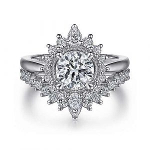 14K White Gold Fancy Halo Round Diamond Engagement Ring - designed by Jewelry Designers Gabriel & Co., New York. Passion, Love & You.