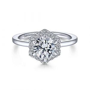 14K White Gold Hexagonal Halo Round Diamond Engagement Ring - designed by Jewelry Designers Gabriel & Co., New York. Passion, Love & You.