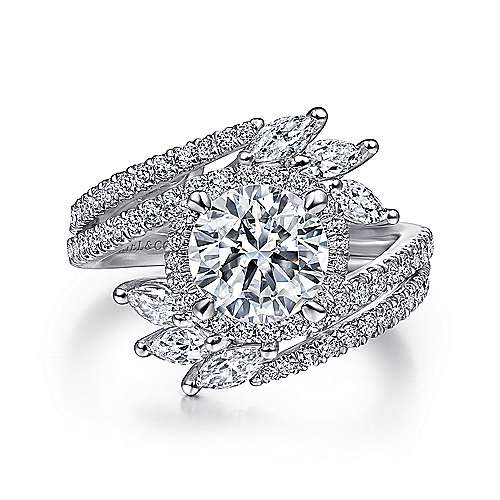 14K White Gold Round Halo Diamond Bypass Engagement Ring - designed by Jewelry Designers Gabriel & Co., New York. Passion, Love & You.