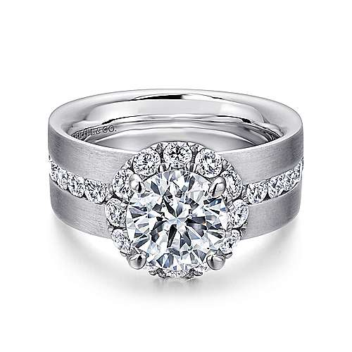 14K White Gold Round Halo Diamond Engagement Ring - designed by Jewelry Designers Gabriel & Co., New York. Passion, Love & You.