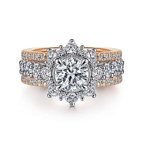 14K White-Rose Gold Fancy Halo Round Diamond Engagement Ring - designed by Jewelry Designers Gabriel & Co., New York. Passion, Love & You.