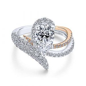 14K White-Rose Gold Pear Shape Halo Diamond Engagement Ring - designed by Jewelry Designers Gabriel & Co., New York. Passion, Love & You.