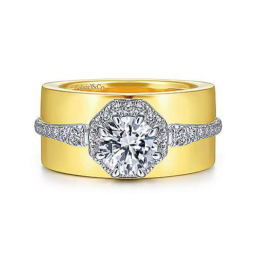 14K White-Yellow Gold Octagonal Halo Round Diamond Engagement Ring - designed by Jewelry Designers Gabriel & Co., New York. Passion, Love & You.
