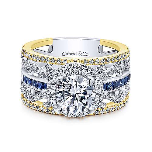 14K White-Yellow Gold Round Halo Sapphire and Diamond Engagement Ring - designed by Jewelry Designers Gabriel & Co., New York. Passion, Love & You.