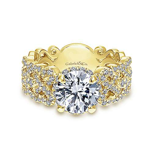 14K Yellow Gold Round Halo Diamond Engagement Ring - designed by Jewelry Designers Gabriel & Co., New York. Passion, Love & You.